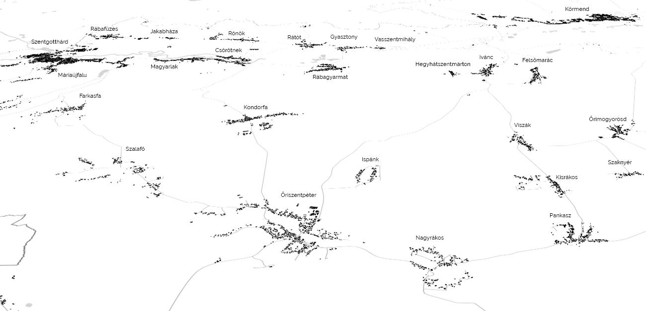 Az Őrség településhálózata szalagtelkes sorfalvakkal és többutcás útifalvakkal (Vas m.)