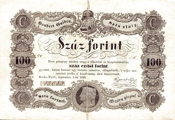 1848 - 100 forint, idealizált női arc