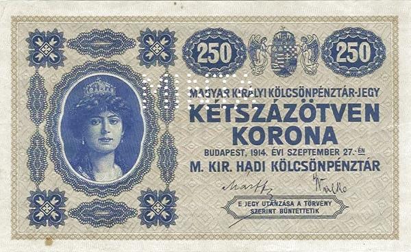 1914 - 250 korona, Zita hercegnő a magyar szent koronával - magyar-királyi kölcsönpénztár