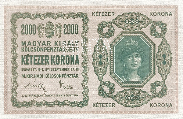 1914 - 2000 korona, Zita hercegnő a magyar szent koronával - magyar-királyi kölcsönpénztár