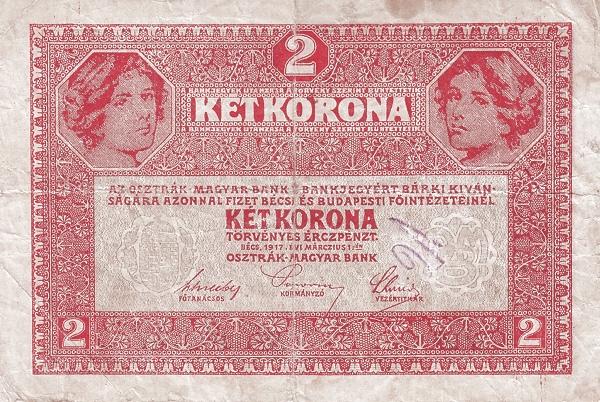 1917 - 2 korona, női arcok - osztrák-magyar bank