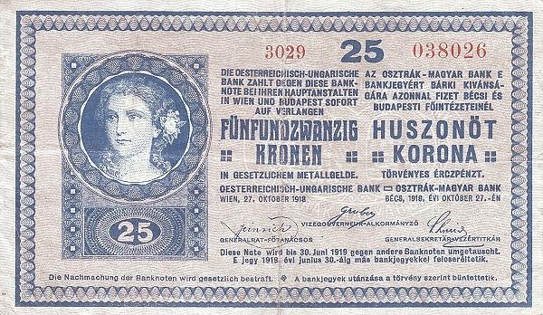 1918 - 25 korona, női arc - osztrák-magyar bank