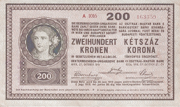 1918 - 200 korona, női arc - osztrák-magyar bank