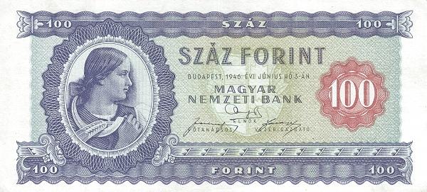 1946 - 100 forint, Várszegi Gizella nyomdai betanított munkás - Magyar Nemzeti Bank