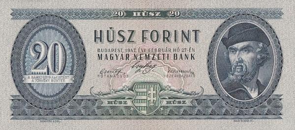 1947 - 20 forint, Dózsa György - Magyar Nemzeti Bank