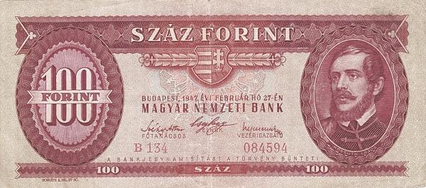 1947 - 100 forint, Kossuth Lajos - Magyar Nemzeti Bank