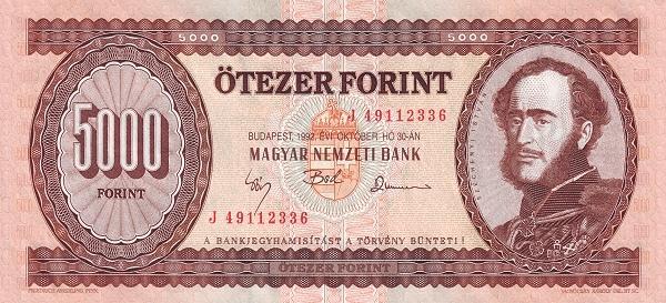 1990 - 5000 forint, Széchenyi István - Magyar Nemzeti Bank