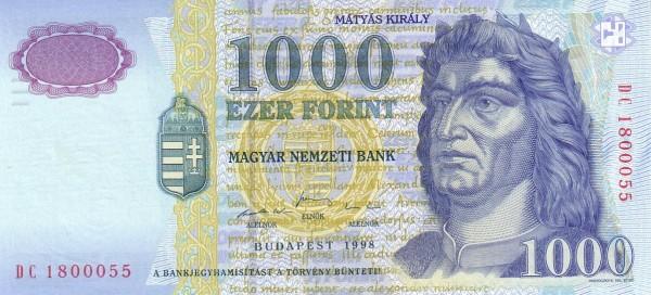1998 - 1000 forint, Mátyás király - Magyar Nemzeti Bank