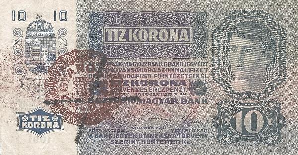 1915 - 10 korona, fiú arc - osztrák-magyar bank