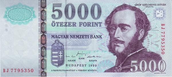 1999 - 5000 forint, Széchenyi István - Magyar Nemzeti Bank