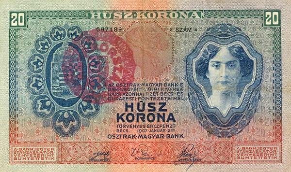 1907 - 20 korona, női arc - osztrák-magyar bank