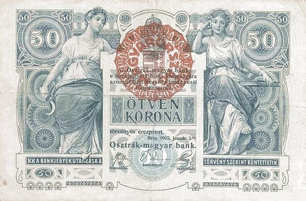 1902 - 50 korona, női alakok, a mezőgazdaság és a tudomány allegóriái - osztrák-magyar bank