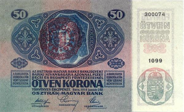 1914 - 50 korona, női arc - osztrák-magyar bank