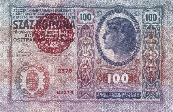 1912 - 100 korona, női arc - osztrák-magyar bank