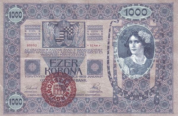 1902 - 1000 korona, női arc, modell: Mina Wiesmüller operaénekes, a grafikus felesége - osztrák-magyar bank