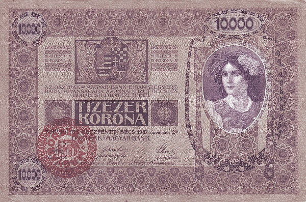 1918 - 10 000 korona, női arc - osztrák-magyar bank