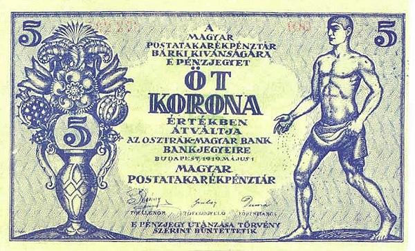 1919 - 5 korona, férfi alakok -Magyar Postatakarékpénztár