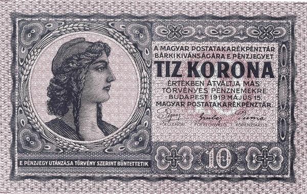 1919 - 10 korona, női arc, a szabadság allegóriája - Magyar Postatakarékpénztár