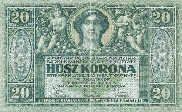 1919 - 20 korona, női arc - Magyar Postatakarékpénztár