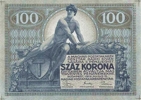 1919 - 100 korona, férfi alak arc - Magyar Postatakarékpénztár