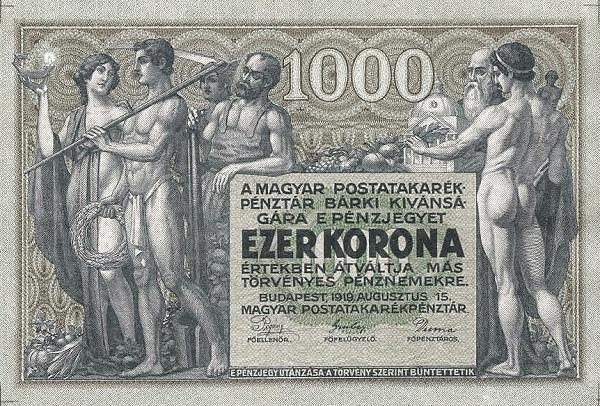 1919 - 1000 korona, allegorikus női és férfi alakok - Magyar Postatakarékpénztár