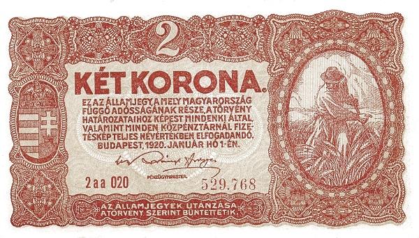 1920 - 2 korona, kaszáló férfi - Pénzügyminisztérium