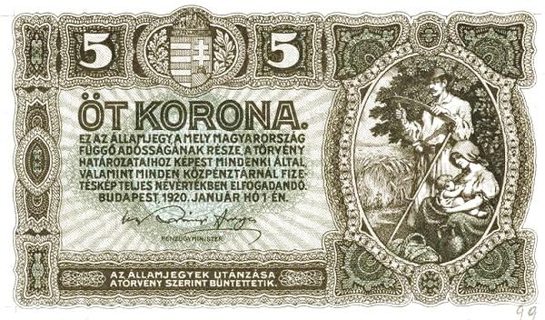 1920 - 5 korona, parasztcsalád - Pénzügyminisztérium