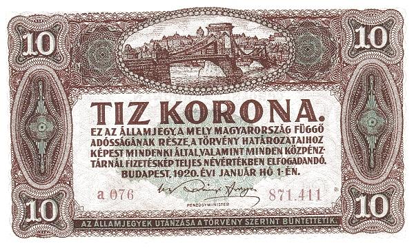 1920 - 10 korona, Lánchíd - Pénzügyminisztérium