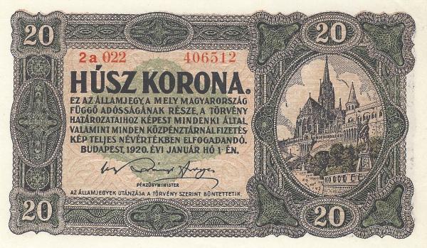 1920 - 20 korona, Mátyás templom, Halászbástya - Pénzügyminisztérium
