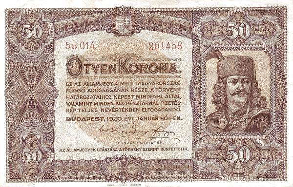 1920 - 50 korona, II. Rákóczi Ferenc fejedelem - Pénzügyminisztérium