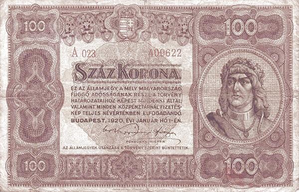 1920 - 100 korona, Mátyás király - Pénzügyminisztérium