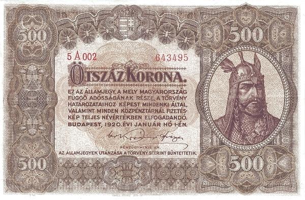 1920 - 500 korona, Árpád fejedelem - Pénzügyminisztérium
