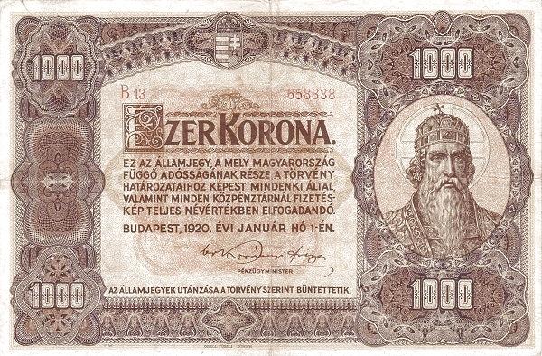 1920 - 1000 korona, Szent István király - Pénzügyminisztérium