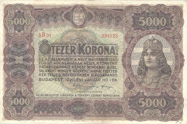 1920 - 5000 korona, női arc, Magyarország allegóriája - Pénzügyminisztérium