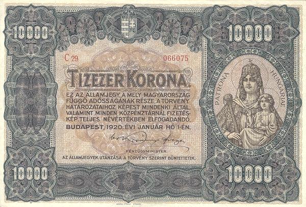 1920 - 10 000 korona, Szűz Mária Jézussal, Magyarország patrónája - Pénzügyminisztérium