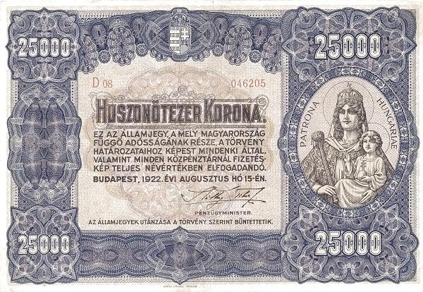 1922 - 25 000 korona, Szűz Mária Jézussal, Magyarország patrónája - Pénzügyminisztérium