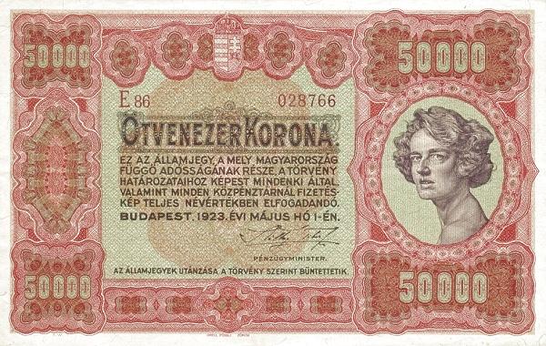 1923 - 50 000 korona, női arc - Pénzügyminisztérium