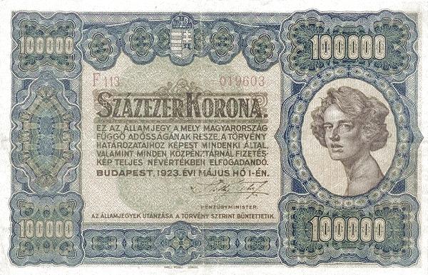 1923 - 100 000 korona, női arc - Pénzügyminisztérium