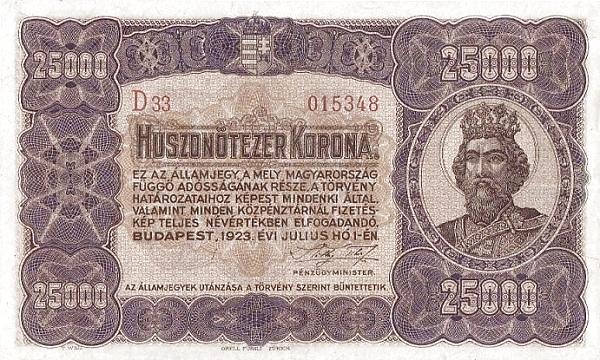 1923 - 25 000 korona, Szent László király - Pénzügyminisztérium
