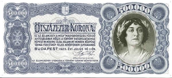 1923 - 500 000 korona, női arc - Pénzügyminisztérium