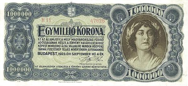 1923 - 1 millió korona, női arc - Pénzügyminisztérium