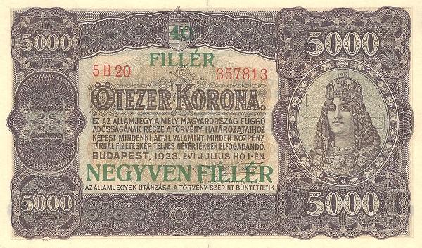 1925 - pénzügyreform, felülnyomott bankjegy - Pénzügyminisztérium