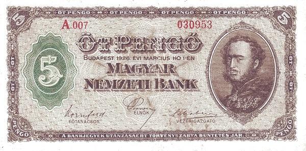 1926 - 5 pengő, Gróf Széchenyi István - Magyar Nemzeti Bank
