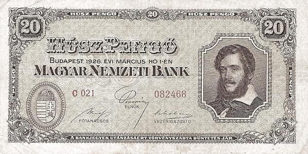 1926 - 20 pengő, Kossuth Lajos - Magyar Nemzeti Bank