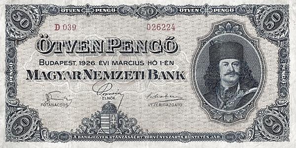 1926 - 50 pengő, II. Rákóczi Ferenc fejedelem - Magyar Nemzeti Bank