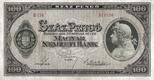 1926 - 100 pengő, Mátyás király - Magyar Nemzeti Bank