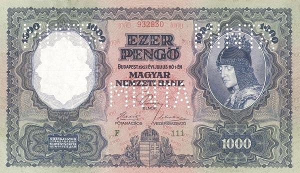 1926 - 1000 pengő, női arc, az aradi szabadság-szobor főalakja, Magyarország allegóriája - Magyar Nemzeti Bank