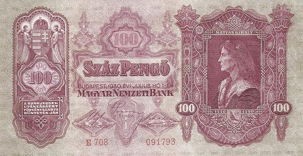 1930 - 100 pengő, Mátyás király - Magyar Nemzeti Bank