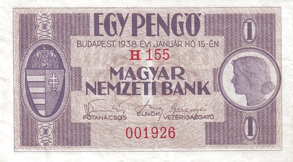 1938 - 1 pengő, lány arc - Magyar Nemzeti Bank