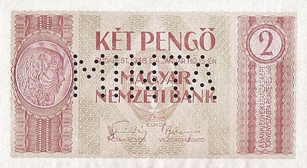 1938 - 2 pengő, lány arc - Magyar Nemzeti Bank